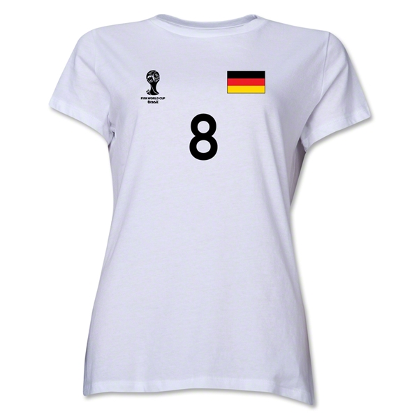 Germany 2014 FIFA World Cup Brazil(TM) Women's Number 8 T-Shirt (White)