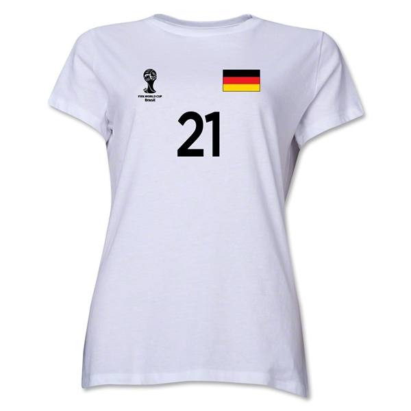 Germany 2014 FIFA World Cup Brazil(TM) Women's Number 21 T-Shirt (White)