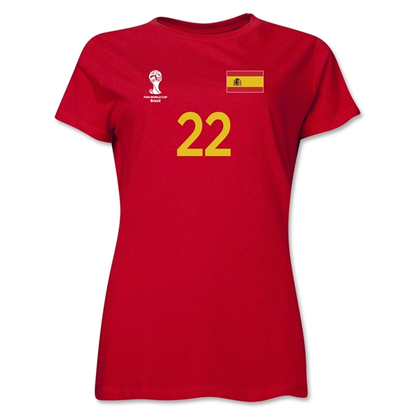Spain 2014 FIFA World Cup Brazil(TM) Women's Number 22 T-Shirt (Red)