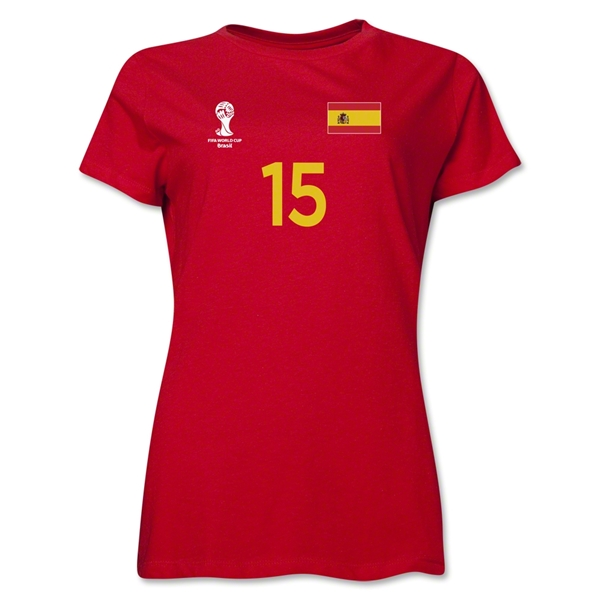 Spain 2014 FIFA World Cup Brazil(TM) Women's Number 15 T-Shirt (Red)