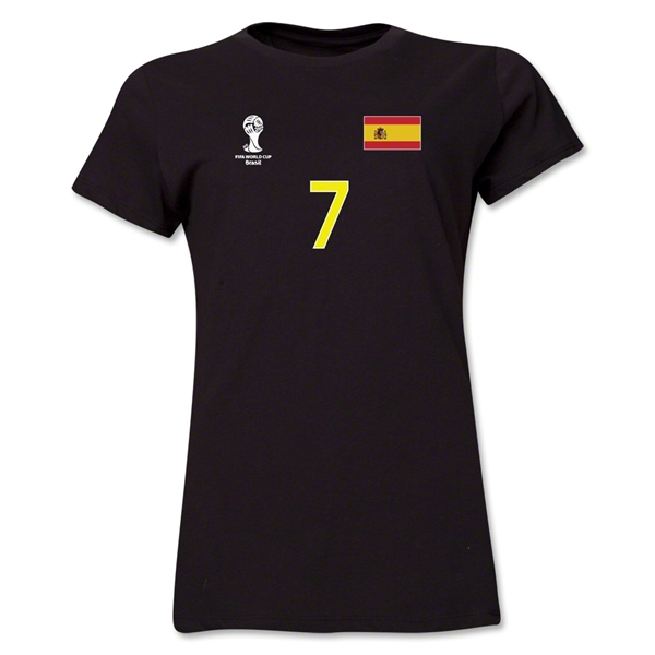 Spain 2014 FIFA World Cup Brazil(TM) Women's Number 7 T-Shirt (Black)