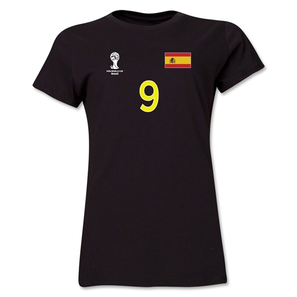 Spain 2014 FIFA World Cup Brazil(TM) Women's Number 9 T-Shirt (Black)