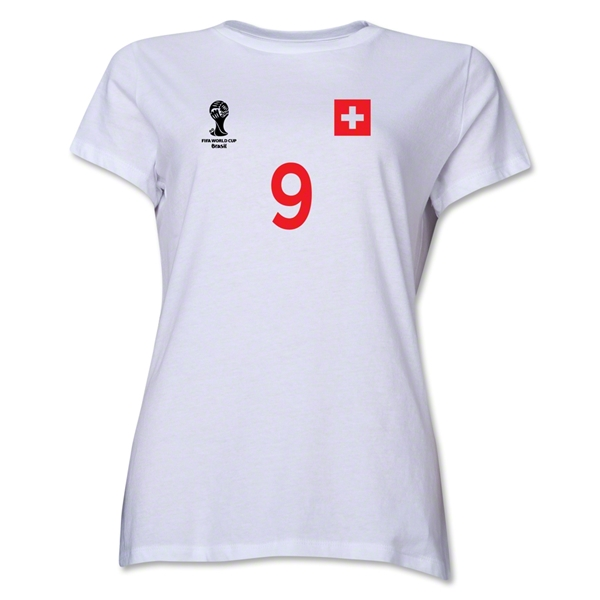 Switzerland 2014 FIFA World Cup Brazil(TM) Women's Number 9 T-Shirt (White)