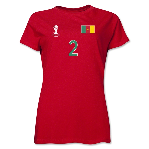 Cameroon 2014 FIFA World Cup Brazil(TM) Women's Number 2 T-Shirt (Red)