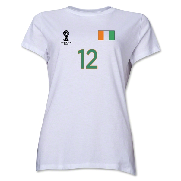 Cote d'Ivoire 2014 FIFA World Cup Brazil(TM) Women's Number 12 T-Shirt (White)
