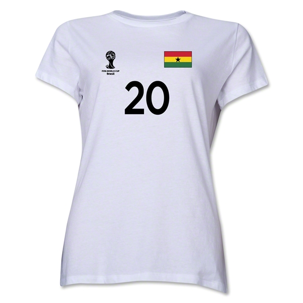 Ghana 2014 FIFA World Cup Brazil(TM) Women's Number 20 T-Shirt (White)