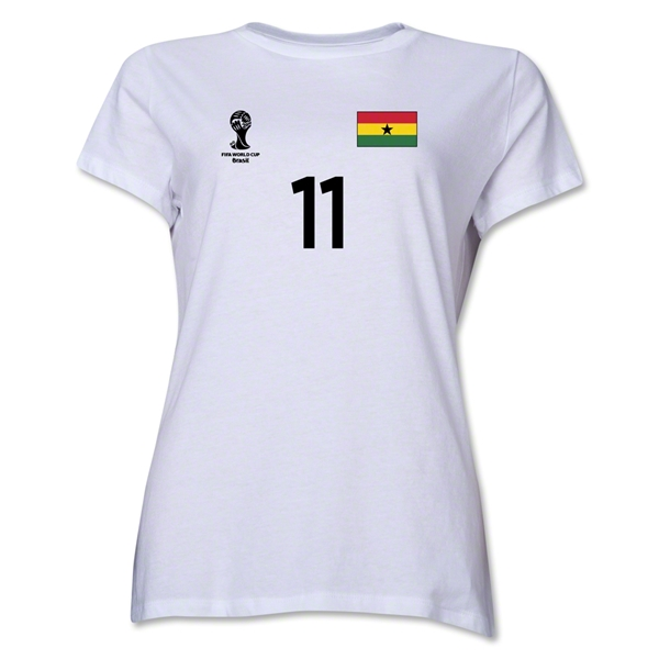 Ghana 2014 FIFA World Cup Brazil(TM) Women's Number 11 T-Shirt (White)