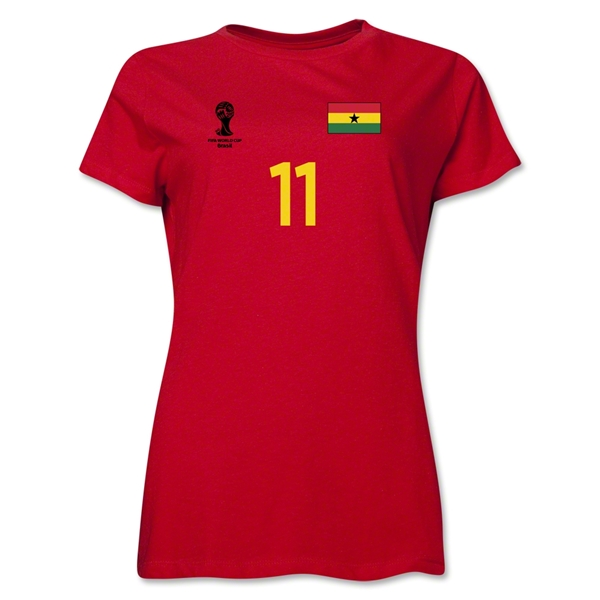 Ghana 2014 FIFA World Cup Brazil(TM) Women's Number 11 T-Shirt (Red)