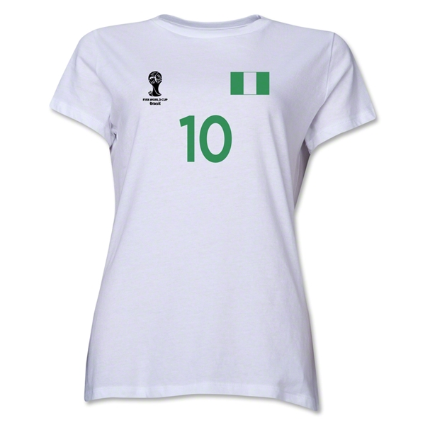 Nigeria 2014 FIFA World Cup Brazil(TM) Women's Number 10 T-Shirt (White)