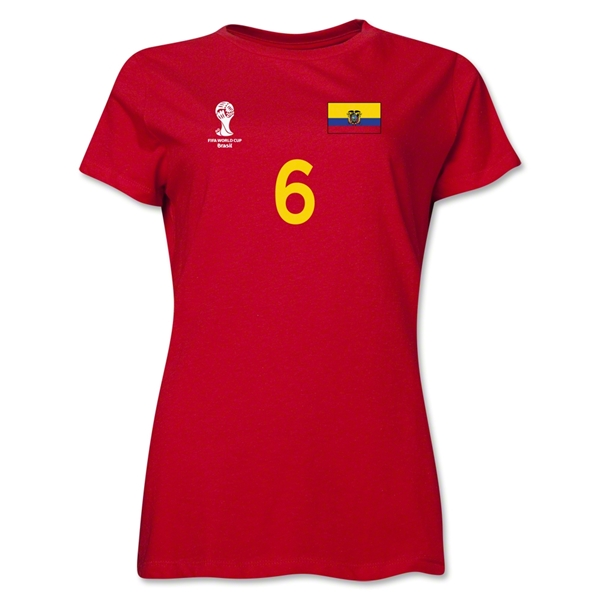 Ecuador 2014 FIFA World Cup Brazil(TM) Women's Number 6 T-Shirt (Red)
