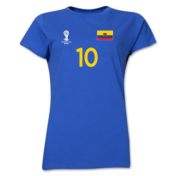 Ecuador 2014 FIFA World Cup Brazil(TM) Women's Number 10 T-Shirt (Royal)