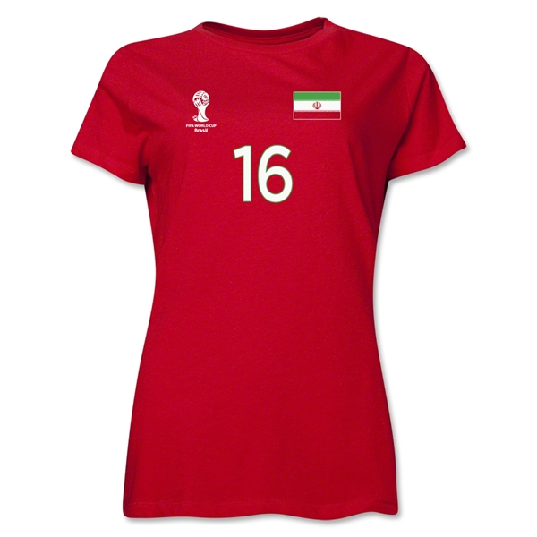 Iran 2014 FIFA World Cup Brazil(TM) Women's Number 16 T-Shirt (Red)