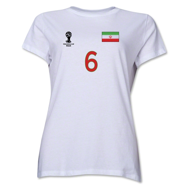 Iran 2014 FIFA World Cup Brazil(TM) Women's Number 6 T-Shirt (White)