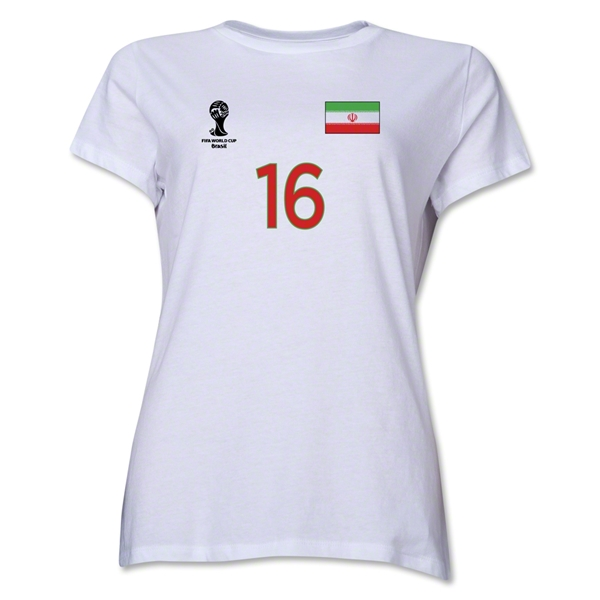 Iran 2014 FIFA World Cup Brazil(TM) Women's Number 16 T-Shirt (White)