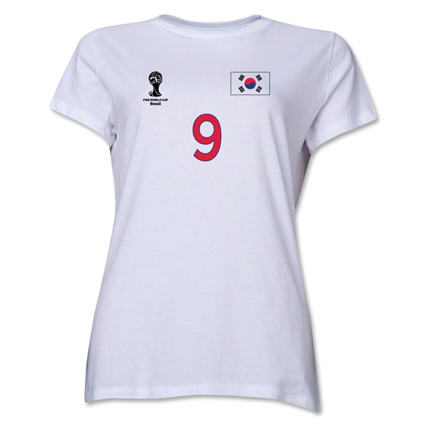 South Korea 2014 FIFA World Cup Brazil(TM) Women's Number 9 T-Shirt (White)