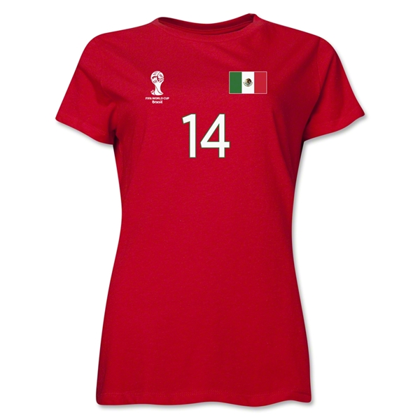 Mexico 2014 FIFA World Cup Brazil(TM) Women's Number 14 T-Shirt (Red)