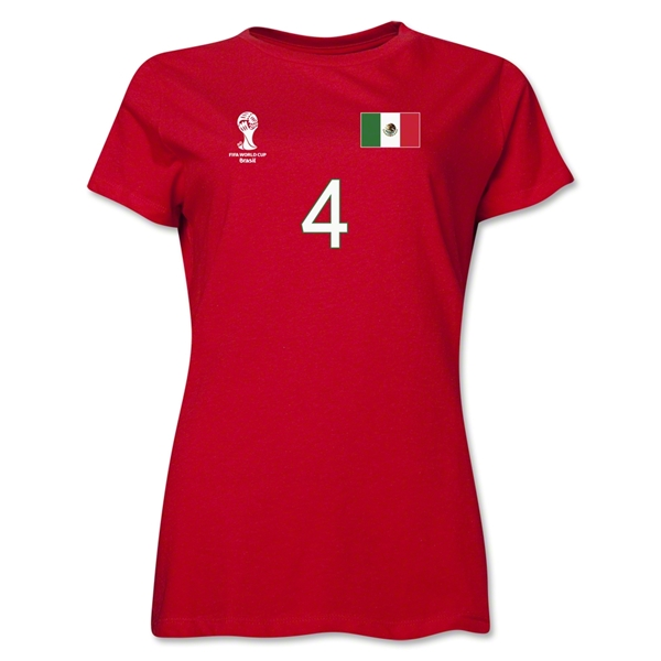 Mexico 2014 FIFA World Cup Brazil(TM) Women's Number 4 T-Shirt (Red)