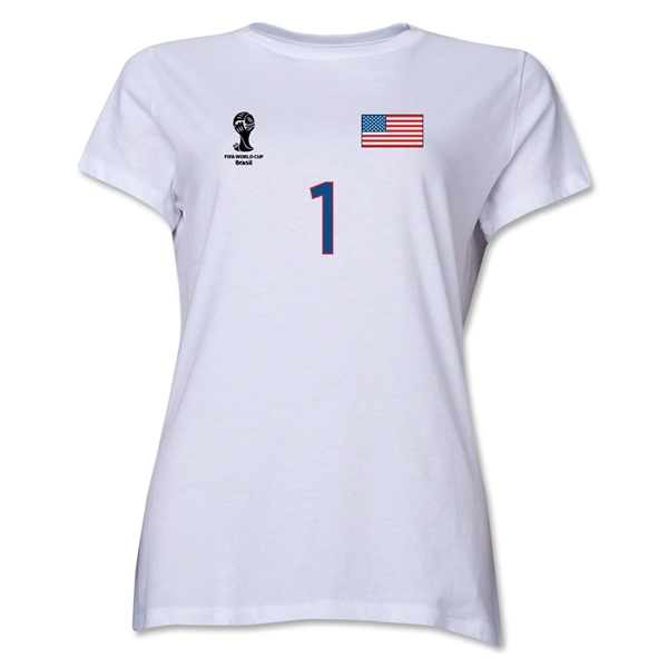 USA 2014 FIFA World Cup Brazil(TM) Women's Number 1 T-Shirt (White)