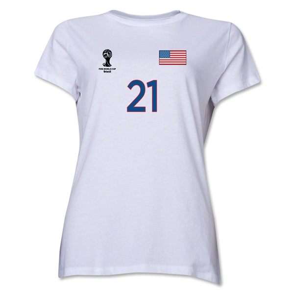 USA 2014 FIFA World Cup Brazil(TM) Women's Number 21 T-Shirt (White)