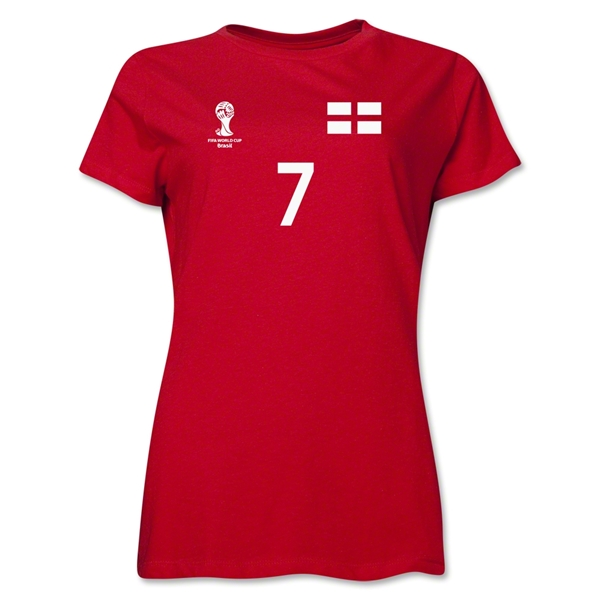 England 2014 FIFA World Cup Brazil(TM) Women's Number 7 T-Shirt (Red)