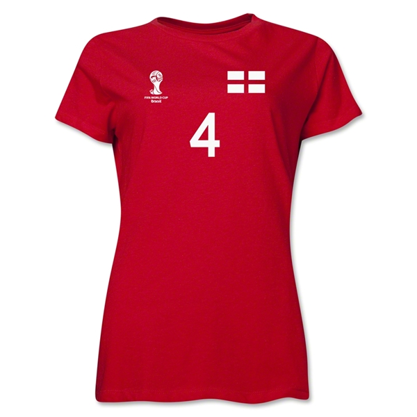 England 2014 FIFA World Cup Brazil(TM) Women's Number 4 T-Shirt (Red)