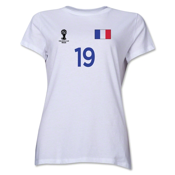 France 2014 FIFA World Cup Brazil(TM) Women's Number 19 T-Shirt (White)