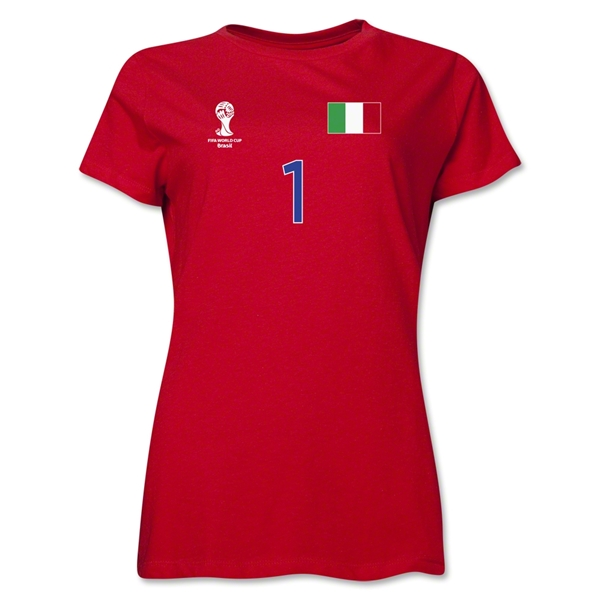 Italy 2014 FIFA World Cup Brazil(TM) Women's Number 1 T-Shirt (Red)