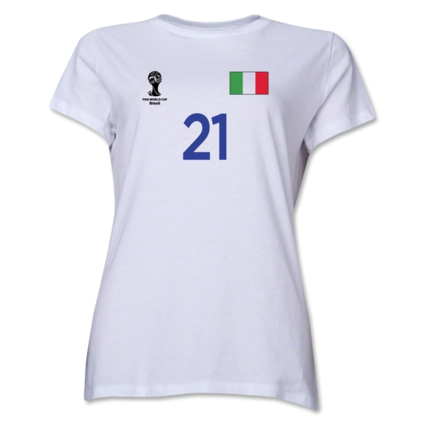 Italy 2014 FIFA World Cup Brazil(TM) Women's Number 21 T-Shirt (White)