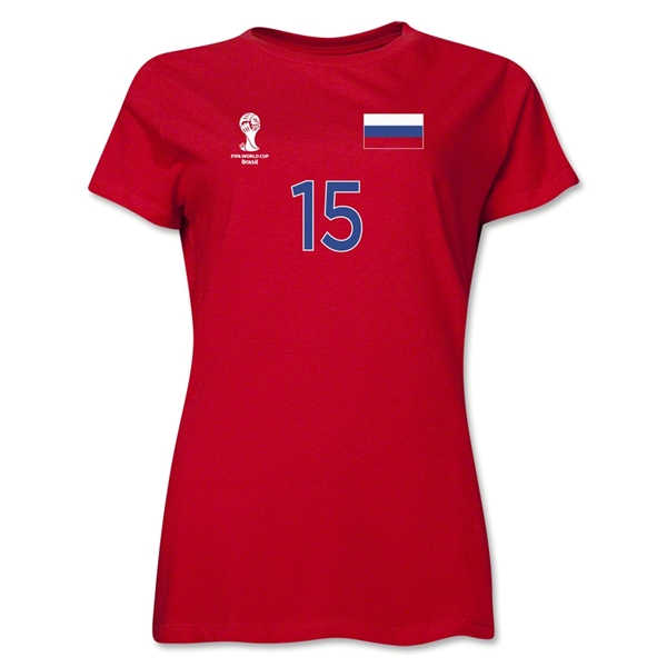 Russia 2014 FIFA World Cup Brazil(TM) Women's Number 10 T-Shirt (Red)