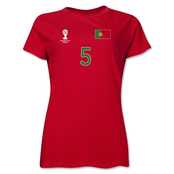 Portugal 2014 FIFA World Cup Brazil(TM) Women's Number 5 T-Shirt (Red)