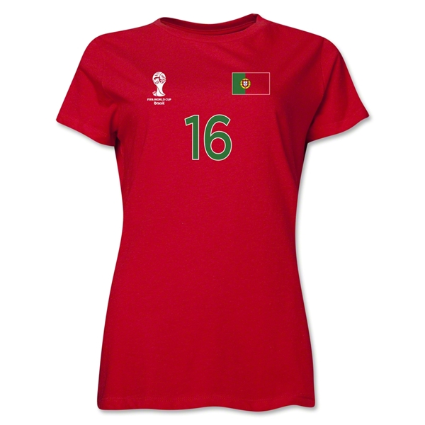 Portugal 2014 FIFA World Cup Brazil(TM) Women's Number 16 T-Shirt (Red)