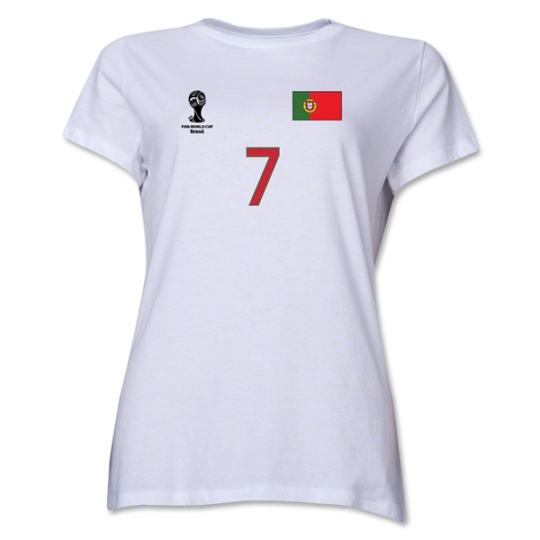 Portugal 2014 FIFA World Cup Brazil(TM) Women's Number 7 T-Shirt (White)