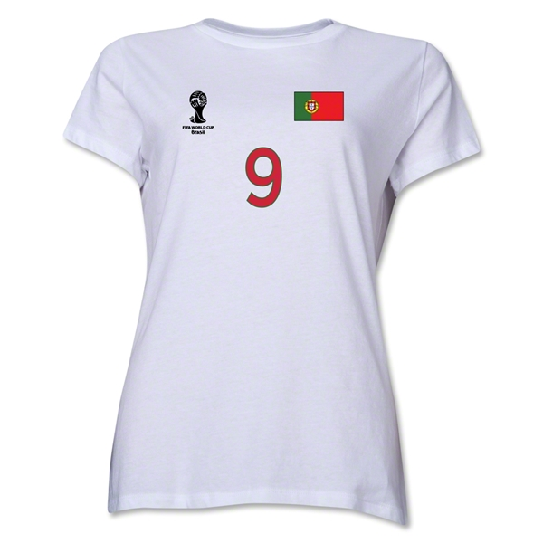 Portugal 2014 FIFA World Cup Brazil(TM) Women's Number 9 T-Shirt (White)