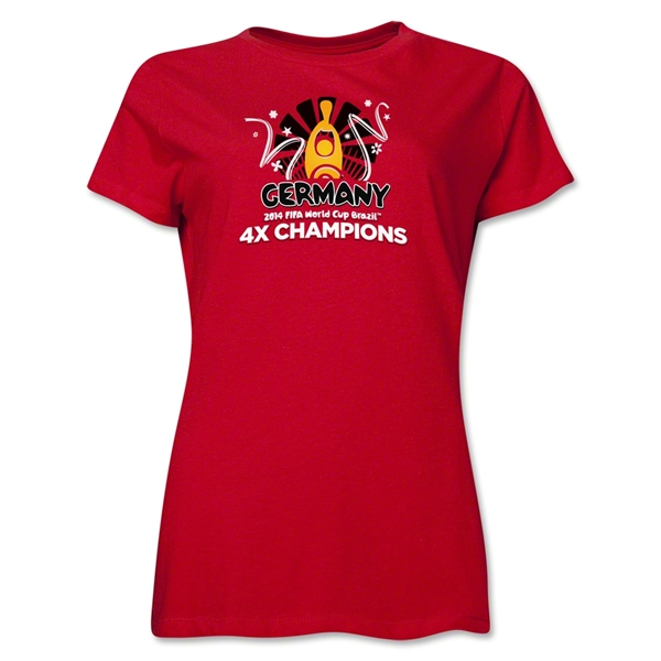 Germany 2014 FIFA World Cup Brazil(TM) Women's Champions Official Look Trophy T-Shirt (Red)