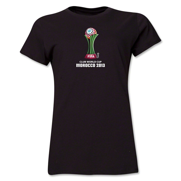 FIFA Club World Cup Morocco 2013 Women's Official Emblem T-Shirt (Black)