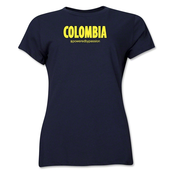 Colombia Powered by Passion Women's T-Shirt (Navy)
