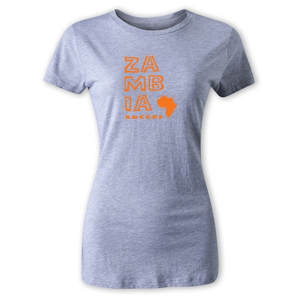 Zambia Women's Country T-Shirt (Gray)