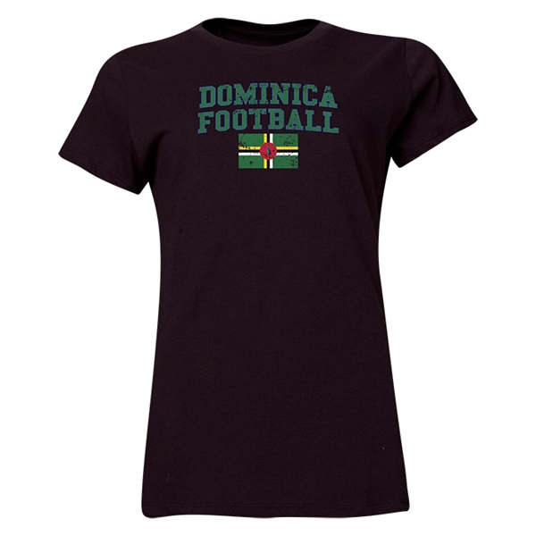 Dominica Women's Football T-Shirt (Black)