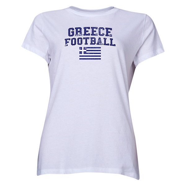 Greece Women's Football T-Shirt (White)
