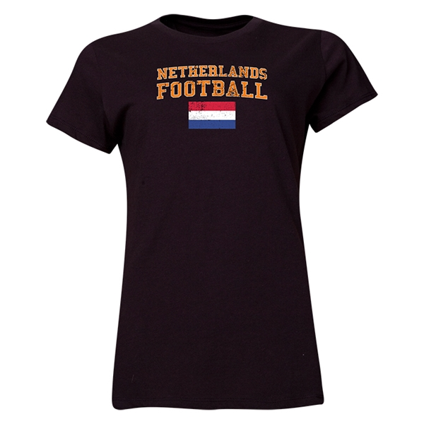 Netherlands Women's Football T-Shirt (Black)