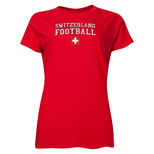Switzerland Women's Football T-Shirt (Red)