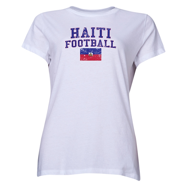 Haiti Women's Football T-Shirt (White)