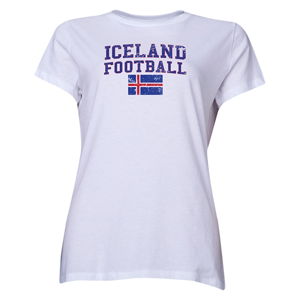 Iceland Women's Football T-Shirt (White)