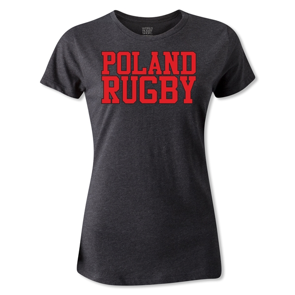 Poland Women's Rugby Supporter T-Shirt (Dark Gray)