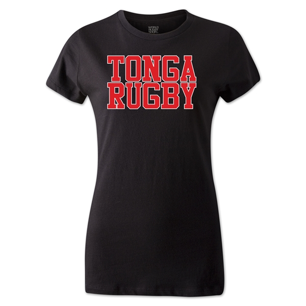 Tonga Women's Supporter Rugby T-Shirt (Black)