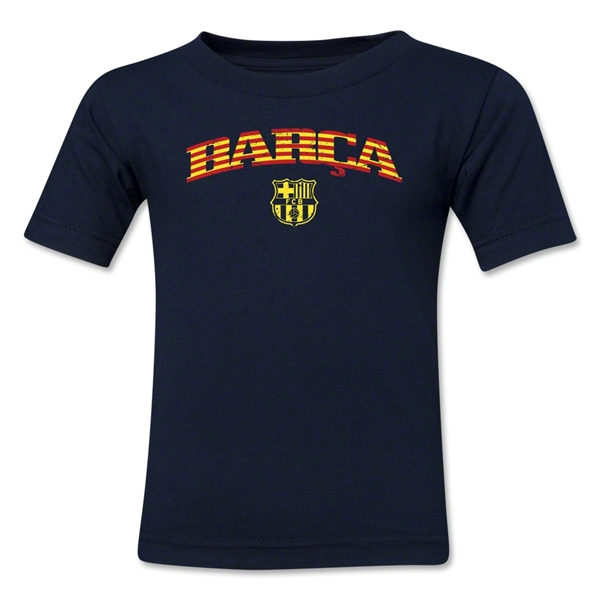 Barcelona Distressed Stripe Kids T-Shirt (Navy)