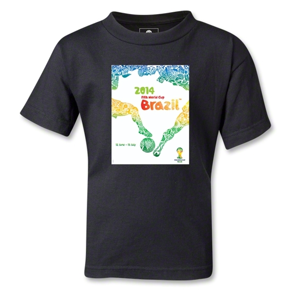 2014 FIFA World Cup Brazil(TM) Official Event Poster Kid's T-Shirt (Black)