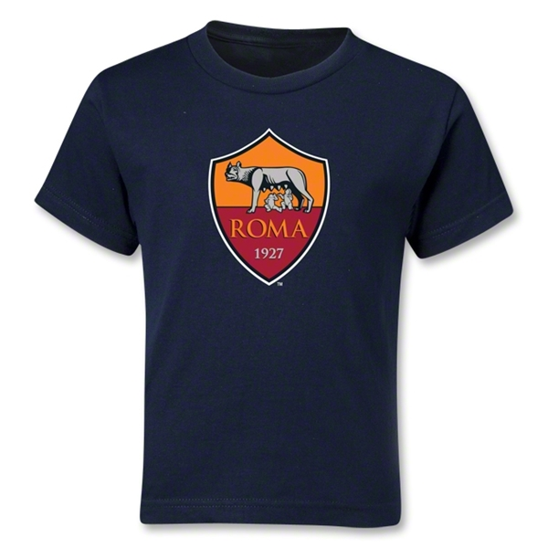 AS Roma Crest Kids T-Shirt (Navy)