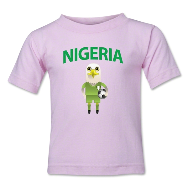 Nigeria Animal Mascot Kids T-Shirt (Pink)