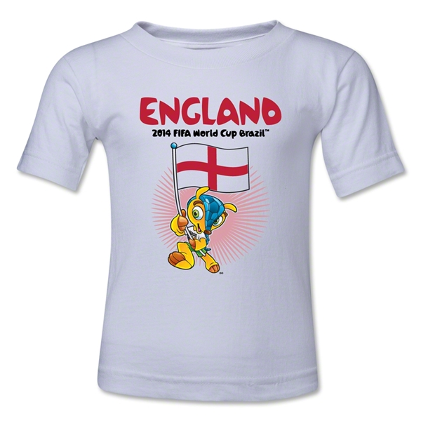 England 2014 FIFA World Cup Brazil(TM) Toddler Mascot Flag T-Shirt (White)